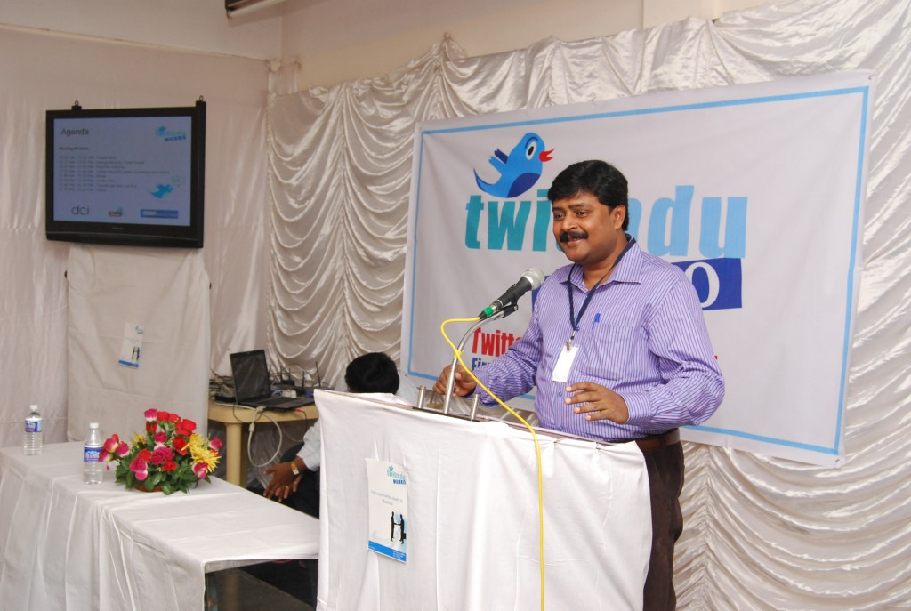 Twitmdu- C.R. Venkatesh MD and CEO of DCI adressing the audience