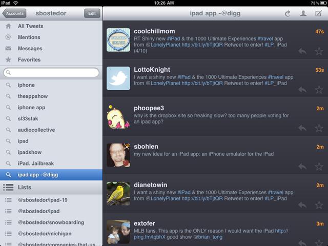 Twitterrific iPad app