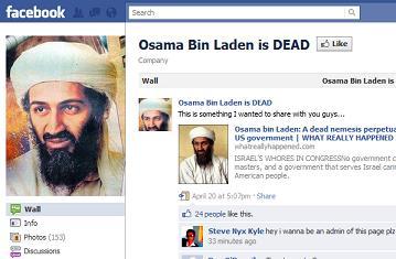 facebook ,twitter in Laden's death