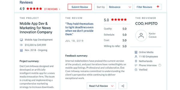 dot com infoway reviews - clutch